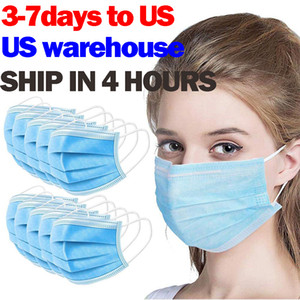 Disposable Face Masks 3 Layer Ear-loop Dust Mouth Masks Cover 3-Ply Non-woven Disposable Dust Mask Soft Breathable outdoor part 1B03