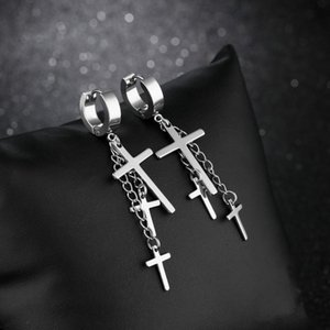 New Fashion Men's Earrings Double Cross Long Tassel Dangle Earring Punk Cool Religious Male Stainless Steel Jewelry Gift