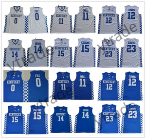 Колледж Кентукки Wildcats 2019 NCAA баскетбол Тайлер Херро Джон Уолл Энтони Дэвис Карл-Энтони города DeMarcus кузены Фокс синий белый Джерси