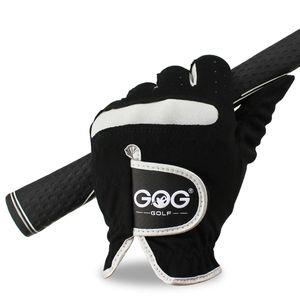 1 PC de los hombres Guantes Guante de golf de la mano izquierda Mano derecha micro fibra suave y transpirable Golf Hombres Color Negro Marca GOG