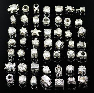 Wholesale 100pcs beads charms Mix 29 Style Big Hole Loose Beads charm For Pandora DIY Jewelry Bracelet For European A0170