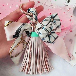 2020 creativo pelle Catene PU nappa Silk Ribbon Bow portachiavi sciarpa di seta Fashion Fringe chiave donne fascino del sacchetto pendente dell'anello chiave