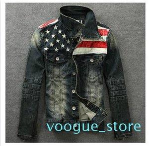 L'uomo Denim Giacche Outerwear American Flag Maschio Do vecchi jeans blu del motociclo del cappotto del rivestimento Uomo Moda Slim Jeans Denim