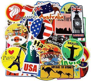 100pcs التي ملصقات فوتوغرافية العالمية الشهيرة السياحة البلد ماء ملصقات الأمتعة حالة السفر زجاجة ماك ملصقات