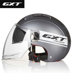 GXT Capacete de Verão open face Dual Lens Moto Capacete Bicicleta elétrica Verão Scooter Moto Casco Moto