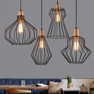 Antique Brass fio gaiola Pendant Light, Black Birdcage Luzes pendentes Scandinavian Ferro retro com lâmpada LED Quente Cafe Droplight