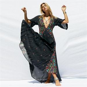 Отпечатано платья V-образным вырезом Flare рукавом Асимметричный Дизайнерская одежда Positioning печати богемный стиль Apparel Womens Summer Flora