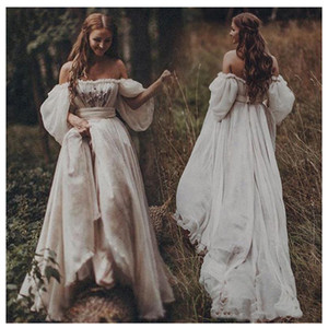 Beach 2020 Bohemian Wedding Dress Sexy Off Shoulder Puff Sleeve Puffy Bridal Gowns Long Train Rustic Country Wedding Gowns BC3129