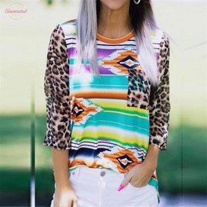 Leopard T Shirt Women Three Quarter Top Multicolor T Shirt Autumn Tops Tee Women Fashion Three Quarter Geometric Printed Tshirt Lady Top