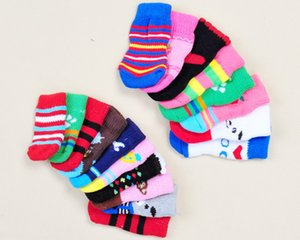 Pet Dog Socks Cat Dog Coton Chaussettes Anti-Slip Chaussures en tricot Weave chaud de Noël Skid Bas Petit chien Puppy Bottes Paw Protecteur DHL