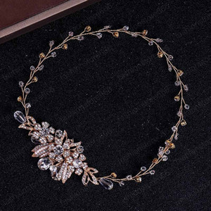 Romantic Exquisite Bride Hairband Leaf Crystal Headband Tiara Wedding Party Elegant Hair Jewelry Bride Accessories