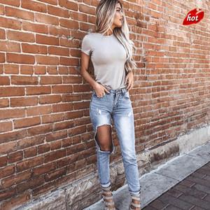 2018 Fashion Damen Destroyed Ripped Jeans Distressed Loch Jeans Blue Washed Denim Jeans Damen Loch Lässige Taschen Hosen O8R2 Y19042901