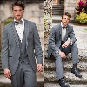 Üç adet Erkekler Weding Suits Gri Custom Made Erkek Giyim İş Suit Groomsmen Kostüm İnce Casual Tasarım Balo Giyim Damat smokin sığacak