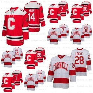 CUSTOM Cornell Big Red NCAA College Hockey Jersey 14 Ebel-riley-nash 1 ken-DRYDEN 28 brenden-locke 7 came donaldson Tout Nom Numéro Tout