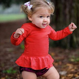 Spring Autumn Baby Girl Toddler Kids Ruffle Hem Long Sleeve Tops Tee Shirt Clothes Solid Color T-shirt