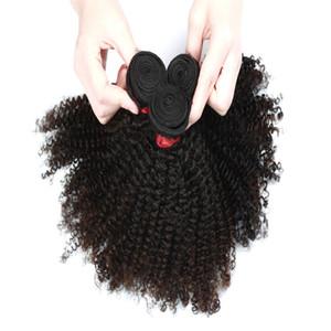 9A Afro Kinky Kıvırcık Saç Uzatma 3 Paketler veya 4 Paketler Brezilyalı Hint Malezya% 100 Bakire İnsan Saç Doğal Renk 8-28inch