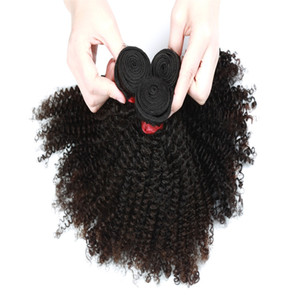 9A Afro rizado pelo rizado extensión de 3 o 4 Paquetes Paquetes 8-28inch indio brasileño de Malasia 100% del pelo humano de la Virgen del color natural