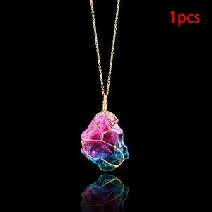 Changement d'humeur collier de pierre Cristal naturel irrégulier Chakra Rock Pierre colorée avec pendentif en quartz