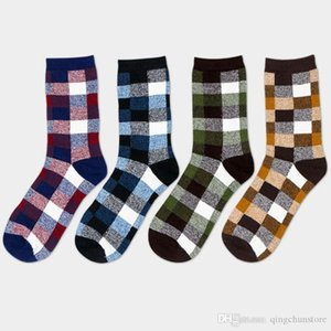 Small square Casual Men's Cotton Socks Medium and Long Tube Men's Socks British Style Socks 2019