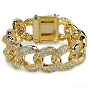 Big Hip-Hop Men's Chain Bracelet 28 Mm 8.5 Inch Micro-zircon CUBAN CHAIN Gold and Silver Hot Selling In Europe and America