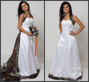 Halter Camo A-Line Wedding Dresses With Detachable Chapel Train Long Formal Bridal Gowns Custom Made Online Vestidos De Novia Spring 1188