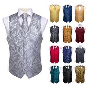 Hızlı Düğün İşletme Biçimsel Erkek Kolsuz Yelek Jakarlı Tweed Kırmızı Siyah Gümüş Paisley İpek Yelek Yelek Elbise Takım Elbise Set Nakliye