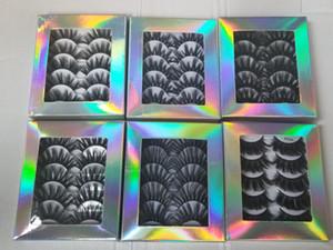 5 pares multicapas 5D Mink Cabello volumen de las pestañas falsas largo natural Wispies Flfuffy pestañas de extensión completa kit gruesa de maquillaje de ojos