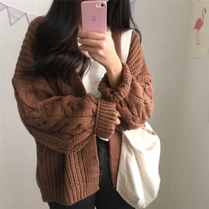 Loose Women Cardigan manteau Automne Hiver manches longues pull en tricot veste Motif solide Harajuku Fashion solide Cardigan chaud Casual