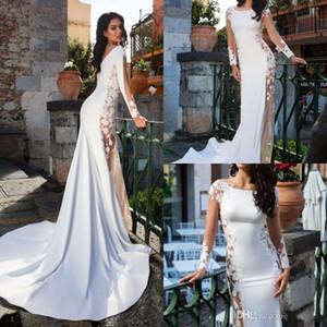 Innocentia Divina 2019 Vintage Summer Mermaid Wedding Dresses Scoop Neck Long Sleeve Bridal Gowns Sweep Train Mermaid Wedding Dress