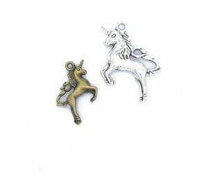100 Adet alaşım Antik gümüş bronz Unicorn At Charms Kolye kolye Takı Yapımı Için bulgular 27x20mm
