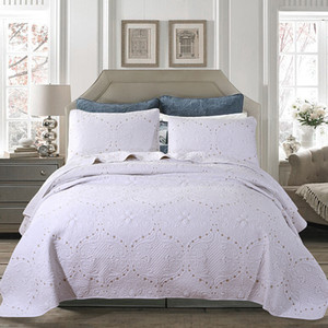 White Bed Cover Set Bedspreads Coverlets Embroidery Quilting Quilts Quilted MattressTopper Europe Handmade Bedsheet Bedding Sets King Size