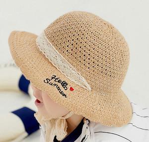 15528 Primavera Estate cappello bambini del bambino dei capretti di paglia Bambino Fishman Cap Crochet Lace Up Bucket Hat Cotton