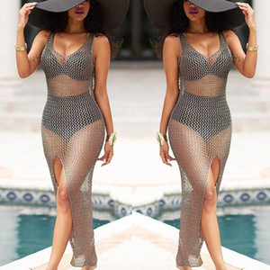 summer beach dress women mesh crochet sleeveless bikini cover up transparent beach sarong kaftan swimsuit swimwear