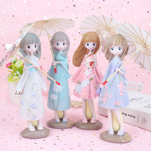 lovely umbrella Japanese kimono girl creative beautiful girl decoration resin crafts gift home decoration Figurines YD0615