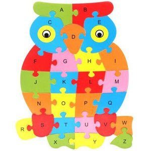 DHL Cute Animal Alphabet Jigsaw For Children Early childhood education puzzle cartoon nx 26 letter board wooden puzzle toy 21*24 CM