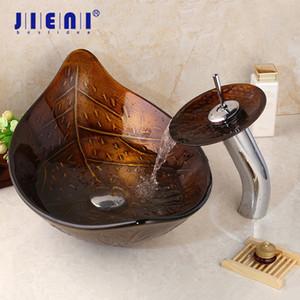 Jieni Groß Goldenes Blatt Vessel Waschbecken gehärtetes Glas Waschbecken mit Messingwasserhahn Badezimmer Waschbecken Sink polierten Wasserhahn Mischbatterie