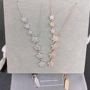 Collana in oro rosa d'argento della collana di modo S925 Sterling Silver Shiny Seven Stars Cubic Zirconia pendente delle donne Collane
