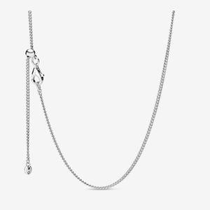 Nuovo arrivo regolabile 925 argento sterling classico catena collana con chiusura scorrevole in forma ciondoli europei e charms regalo gioielli fini