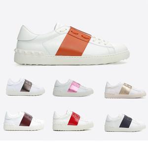 2019 neue Qualitäts-Weiß Mode-Marken-Entwerfer-Niet-flache Schuhe Männer Frauen Kleidung Leder Freizeit Opening Low Side Freizeitschuhe Größe 36