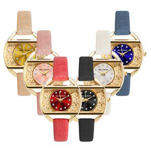 Простой тренд квадратный и круглый циферблат алмаз кристалл женские кожаные часы оптом 2019 дамы повседневная одежда кварцевые наручные часы