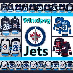 Jersey Jets de Winnipeg Men # 26 Blake Wheeler # 29 Patrik Lainé # 33 Dustin Byfuglien # 55 Mark Scheifele Hockey Maillots
