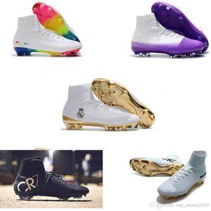 mens Wholesale Football Boots Mercurial Superfly V FG Soccer Shoes C Ronaldo 7 Top Quality Mens Soccer Cleats original