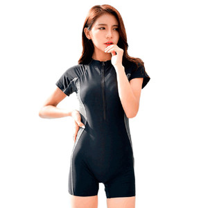 Seabbot Swimsuit One Piece Swimwear Sport Professional Neck To Knee Competition Zipper Swimsuit Sexy Racing Suit Women 81103 Y19051801