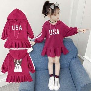 Big Girls Dress Nouveau Printemps Automne Filles Vêtements enfants Lettres USA Imprimé Hoodies Enfants Robe Fashion Casual Robe 3-13T