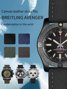 도구와는 Breitling NAVITIMER 시계 남자 22mm 검은 색 갈색 녹색 파란색을위한 나일론 송아지 가죽 스킨 정품 가죽 시계 밴드 시계 스트랩