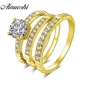 AINUOSHI Solid Gold TRIO Кольца Real 14К желтого золота с парой обручальное кольцо Set Pave набор диапазона Lover помолвки Обручальные кольца ювелирные изделия
