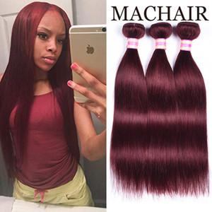 Pre-Colored Hair Weave Wine 레드 인간 헤어 번들 3 / 4PC 버건디 레미 브라질 스트레이트 헤어 익스텐션 99j # 27 # 4 # 30 #