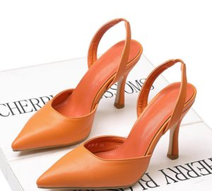 Simple High Heel Leather 2020 Pointed Toe Summer Stiletto Heel Fashion Black, White, Orange Sandals Dress Shoes Fast Shipping