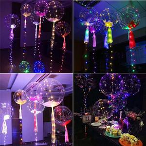 Piscando Led Bobo balão com paus Hélio Transparente Frequency Ballon casamento aniversário Detalhes no 3 Stage LED Light Balloon