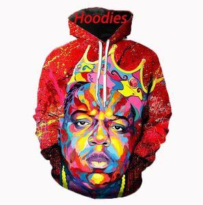 Hohe Qualität Mens Designer Berüchtigten B. I. G. Hoodies Sweatshirts 3D Print Unisex Sweatshirt Hoodie Männer/Frauen Kleidung AA0343